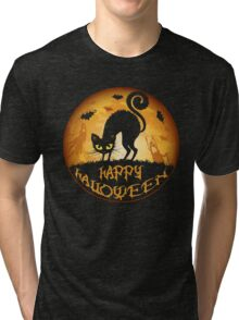 Happy Halloween Meow Cat and Night Tri-blend T-Shirt