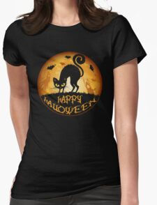 Happy Halloween Meow Cat and Night Womens Fitted T-Shirt