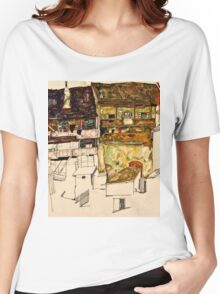 Egon Schiele - Old Houses in Krumau, 1914 (1914)  Women's Relaxed Fit T-Shirt