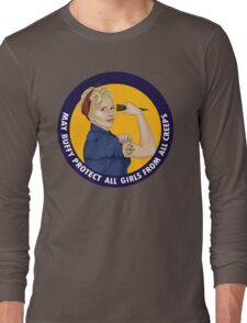 Buffy, the riveter. MAY BUFFY PROTECT YOU Long Sleeve T-Shirt