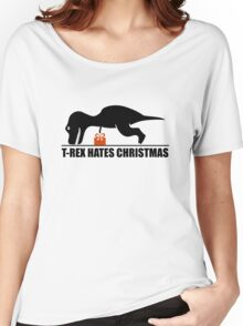 T-Rex Hates Christmas, He Can't Reach His Gifts. Christmas Dino Humor Tee Shirt. Women's Relaxed Fit T-Shirt