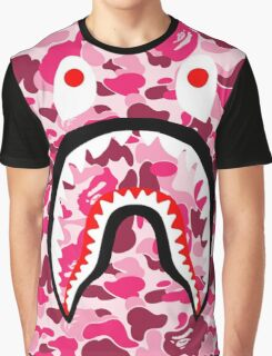 BAPE SHARK WITH PINK CAMO  Graphic T-Shirt