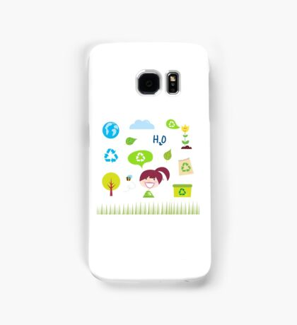 Recycle, nature and ecology icons isolated on white background Samsung Galaxy Case/Skin