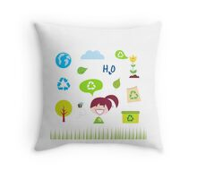 Recycle, nature and ecology icons isolated on white background Throw Pillow