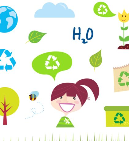 Recycle, nature and ecology icons isolated on white background Sticker