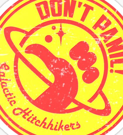 Galactic Hitchhikers Red and Gold Sticker