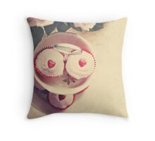 Cupcakes and Hearts Throw Pillow