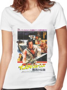 Indiana Jones Temple of Doom Women's Fitted V-Neck T-Shirt