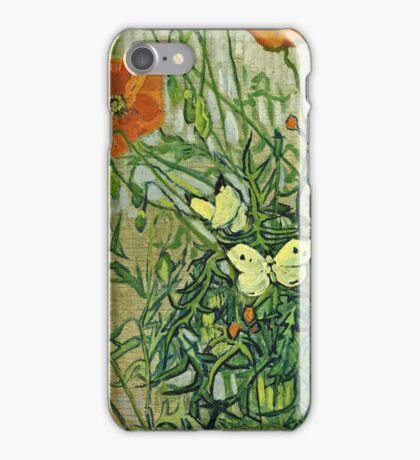 Vincent Van Gogh - Butterflies And Poppies, April 1890 - May 1890  iPhone Case/Skin