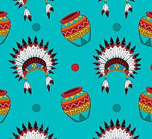 Native American pattern on turquoise by kathrynkonkle