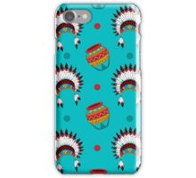 Native American pattern on turquoise iPhone Case/Skin