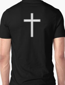 Cross, Christian, Crucifix, Religeon, Belief, Crucifixion, Christianity, Jesus, Lord, White on Black Unisex T-Shirt