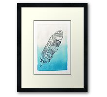 blue watercolor feather  Framed Print