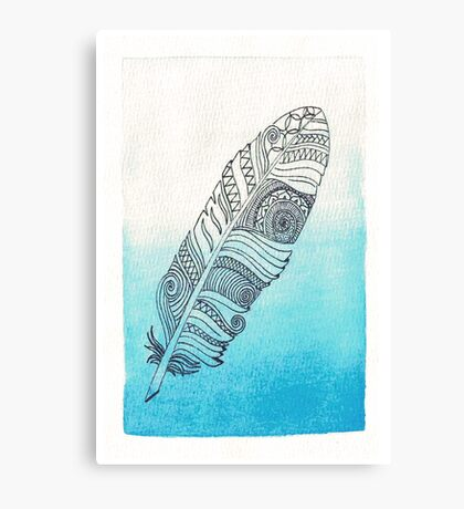 blue watercolor feather  Canvas Print