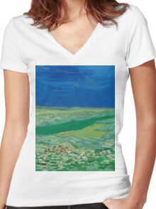 Vincent Van Gogh - Wheatfields Under Thunderclouds, 1890 Women's Fitted V-Neck T-Shirt