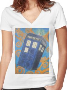 The Flying Blue Box Women's Fitted V-Neck T-Shirt