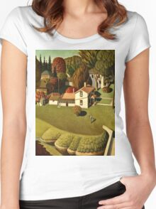 Grant Wood - Birthplace Of Herbert Hoover  Women's Fitted Scoop T-Shirt