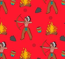 Native American pattern on red by kathrynkonkle