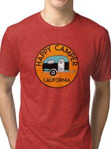 CAMPING HAPPY CAMPER CALIFORNIA TRAILER RV RECREATIONAL VEHICLE Tri-blend T-Shirt