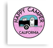 CAMPING HAPPY CAMPER CALIFORNIA TRAILER RV RECREATIONAL VEHICLE 2 Canvas Print
