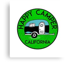 CAMPING HAPPY CAMPER CALIFORNIA TRAILER RV RECREATIONAL VEHICLE 3 Canvas Print
