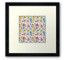 Doodle fashion shopping seamless pattern Framed Print