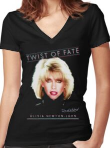 OLIVIA NEWTON-JOHN - TWIST OF FATE - 80s Women's Fitted V-Neck T-Shirt