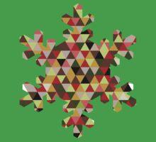 Multicoloured Modern Triangle Snowflake Christmas Design Kids Tee