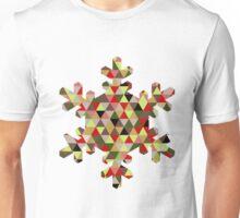 Multicoloured Modern Triangle Snowflake Christmas Design Unisex T-Shirt