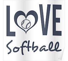 Love Softball (blue) Poster