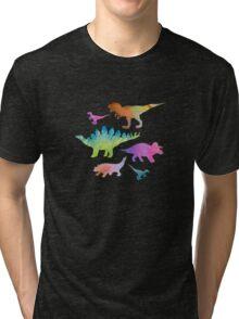 Dinosaur rainbow on black Tri-blend T-Shirt