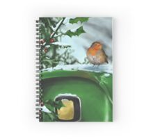 John Robin and holly in the snow Spiral Notebook