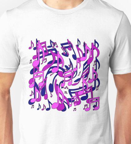 Music Notes Blue Purple Aqua Pink Pattern Unisex T-Shirt
