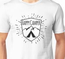 HAPPY CAMPER CAMPING TENT MOUNTAINS OUTDOORS LOVE BLACK WHITE Unisex T-Shirt