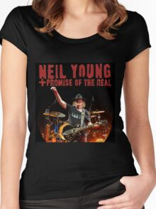 best music poster neil young promise real Women's Fitted Scoop T-Shirt
