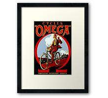 OMEGA BICYCLES; Vintage Cycle Advertising Print Framed Print