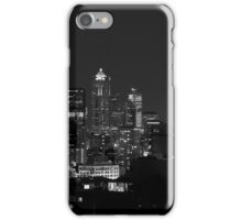 Downtown Seattle at Night (Black and White) iPhone Case/Skin
