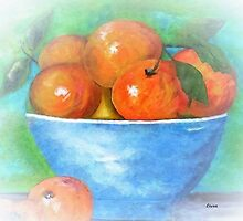 Peaches in a Blue Bowl Vignette by EloiseArt