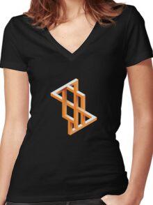 Escher Maze Women's Fitted V-Neck T-Shirt