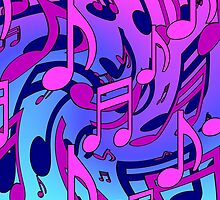 Music Notes Blue Purple Aqua Pink Pattern2 by M Sylvia Chaume