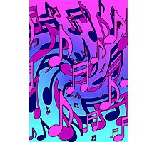 Music Notes Blue Purple Aqua Pink Pattern2 Photographic Print