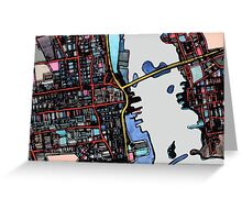 Abstract Map of New Bedford Greeting Card