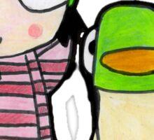 sarah and duck Sticker