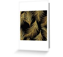 Feather,gold,black,glitter,glam,feathers,pattern,modern,trendy,chic,elegant Greeting Card