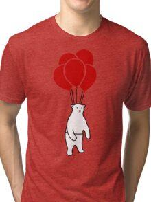 Polar Bear and Balloons  Tri-blend T-Shirt
