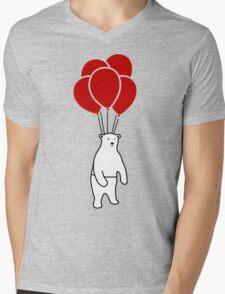 Polar Bear and Balloons  Mens V-Neck T-Shirt