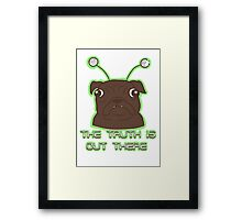 The Pug Files- black fur Framed Print