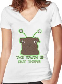 The Pug Files- black fur Women's Fitted V-Neck T-Shirt