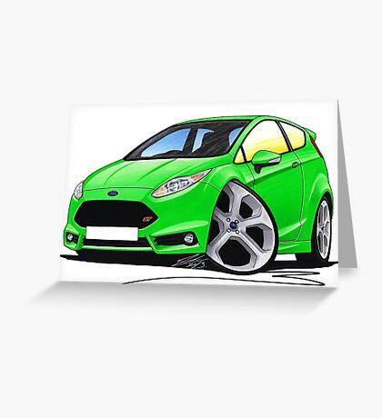 Ford Fiesta (Mk7) ST Green Greeting Card