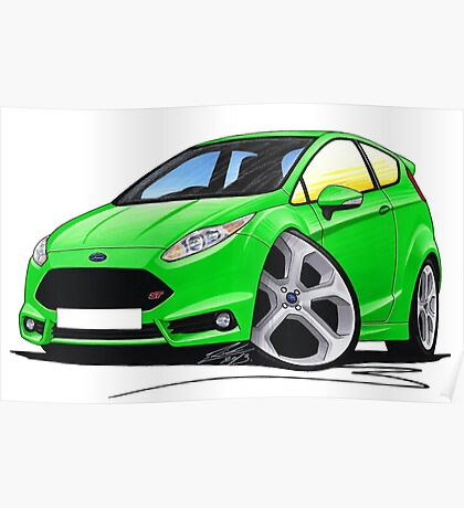 Ford Fiesta (Mk7) ST Green Poster